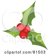 Royalty Free RF Clipart Illustration Of Three Round Red Holly Berries And Leaves