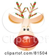 Royalty Free RF Clipart Illustration Of A Rudolph Reindeer Face With A Shiny Red Nose