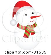 Royalty Free RF Clipart Illustration Of A Cute Rounded Snowman Wearing A Scarf And Santa Hat
