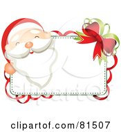 Royalty Free RF Clipart Illustration Of A Jolly Santa Face Looking Over A Blank Sign