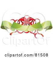 Royalty Free RF Clipart Illustration Of An Ornate Red Ribbon Bow Behind A Green Christmas Banner