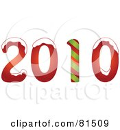 Royalty Free RF Clipart Illustration Of A New Year 2010 Topped With Snow