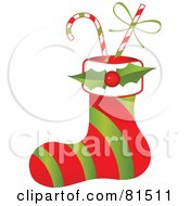 Royalty Free RF Clipart Illustration Of A Red And Green Striped Christmas Stocking With Holly And Candy Canes
