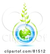 Royalty Free RF Clipart Illustration Of A Green Vine Growing From A Blue And Green Protected Australian Globe by Oligo
