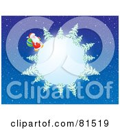Royalty Free RF Clip Art Illustration Of Santa Trekking Around A Moon Or Snowy Globe With Evergreens In A Starry Sky
