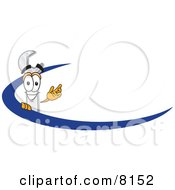 Clipart Picture Of A Wrench Mascot Cartoon Character Logo With A Blue Dash by Toons4Biz