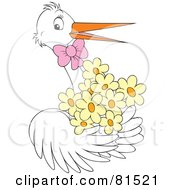 Royalty Free RF Clipart Illustration Of A White Stork Wearing A Pink Bow And Carrying Yellow Flowers