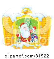 Royalty Free RF Clipart Illustration Of A Welcoming Santa Standing In Front Of An Open Shutter Window