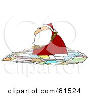 Royalty Free RF Clipart Illustration Of Santa Wading Chest High In Letters by Dennis Cox