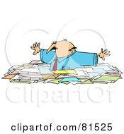 Caucasian Businessman Wading Through Chest High Paperwork