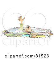 Caucasian Businessman Reaching Up While Drowning In Paperwork