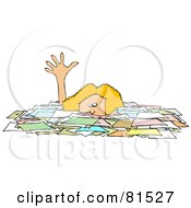 Royalty Free RF Clipart Illustration Of A Caucasian Businesswoman Reaching Up While Drowning In Paperwork