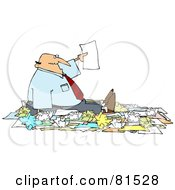 Royalty Free RF Clipart Illustration Of A Caucasian Businessman Holding Up A Page While Surrounded By Paperwork by djart
