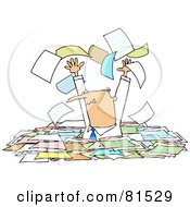 Royalty Free RF Clipart Illustration Of A Stressed Manager Standing Chest High In Paperwork Tossing Pages Into The Air by djart