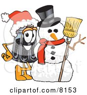 Clipart Picture Of A Pepper Shaker Mascot Cartoon Character With A Snowman On Christmas