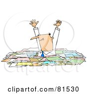 Royalty Free RF Clipart Illustration Of A Caucasian Businessman Holding His Arms Up And Standing In Chest High Paperwork by djart