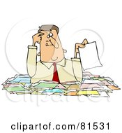 Royalty Free RF Clipart Illustration Of A Confused Caucasian Businessman Holding Up A Paper While Wading Chest High In Paperwork by djart