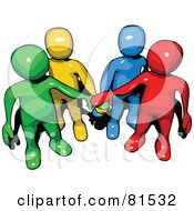 Colorful People Forms With Piled Hands
