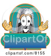 Clipart Picture Of A Pepper Shaker Mascot Cartoon Character With A Blue And Green Label