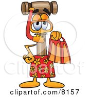 Clipart Picture Of A Mallet Mascot Cartoon Character In Orange And Red Snorkel Gear by Toons4Biz
