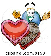 Clipart Picture Of A World Earth Globe Mascot Cartoon Character With An Open Box Of Valentines Day Chocolate Candies