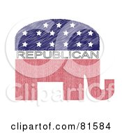 Royalty Free RF Clipart Illustration Of A Red White And Blue Republican Elephant Version 5