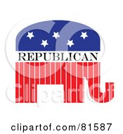 Royalty Free RF Clipart Illustration Of A Red White And Blue Republican Elephant Version 2