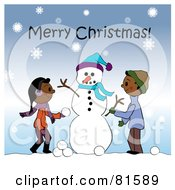 Royalty Free RF Clipart Illustration Of A Merry Christmas Greeting Of Two Children Creating A Snowman Together In The Snow