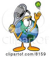 Clipart Picture Of A World Earth Globe Mascot Cartoon Character Preparing To Hit A Tennis Ball