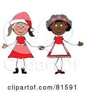 Royalty Free RF Clipart Illustration Of Two Christmas Stick Girls Holding Hands
