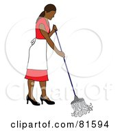 Cleaning Hispanic Woman In A Red Dress Mopping A Floor