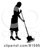 Royalty Free RF Clipart Illustration Of A Black Silhouette Of A Cleaning Lady Mopping