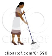 Royalty Free RF Clipart Illustration Of A Hispanic Cleaning Lady Mopping A Floor