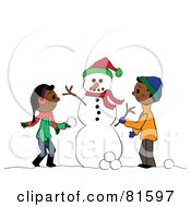 Royalty Free RF Clipart Illustration Of Two African American Children Creating A Snowman Together by Pams Clipart