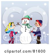 Royalty Free RF Clipart Illustration Of Two Caucasian Children Creating A Snowman Together In The Snow