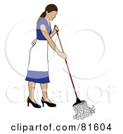 Royalty Free RF Clipart Illustration Of A Caucasian Cleaning Lady Mopping A Floor