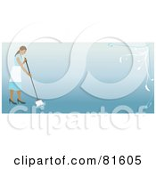 Royalty Free RF Clipart Illustration Of A Blue Border Of A Mopping Cleaning Lady With Floral Accents
