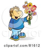 Brunette Boy Holding A Bouquet Of Flowers