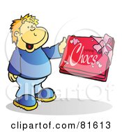 Royalty Free RF Clipart Illustration Of A Blond Boy Holding A Box Of Chocolates