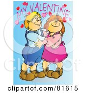 Royalty Free RF Clipart Illustration Of A Little Boy And His Girlfriend Hugging Under My Valentine Text