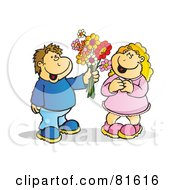 Royalty Free RF Clipart Illustration Of A Brunette Boy Handing A Blond Girl Flowers