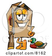 Clipart Picture Of A Cardboard Box Mascot Cartoon Character Duck Hunting Standing With A Rifle And Duck