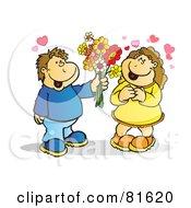 Boy Handing His Girlfriend Flowers