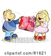 Royalty Free RF Clipart Illustration Of A Boy Giving His Girlfriend A Box Of Valentines Day Chocolates by Snowy