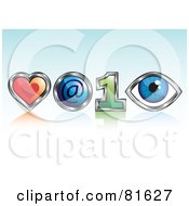 Royalty Free RF Clipart Illustration Of A Heart Arobase 1 And Eye Meaning Love At First Sight