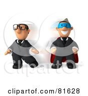 Royalty Free RF Clipart Illustration Of A 3d Business Toon Guy Quickly Changing Into A Super Hero