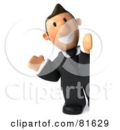Royalty Free RF Clipart Illustration Of A 3d Business Toon Guy Waving And Looking Around A Blank Sign