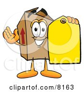Cardboard Box Mascot Cartoon Character Holding A Yellow Sales Price Tag