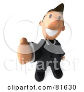 Royalty Free RF Clipart Illustration Of A 3d Business Toon Guy Giving The Thumbs Up
