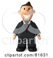 Royalty Free RF Clipart Illustration Of A 3d Business Toon Guy Standing And Facing Front by Julos